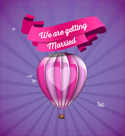 Hot air balloonflying in the sky. Getting married card template.
