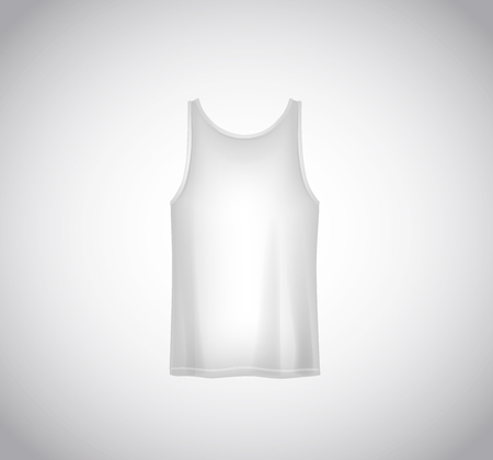 Men white tank top isolated. Realistic mockup. Short sleeve T-shirt template on background.