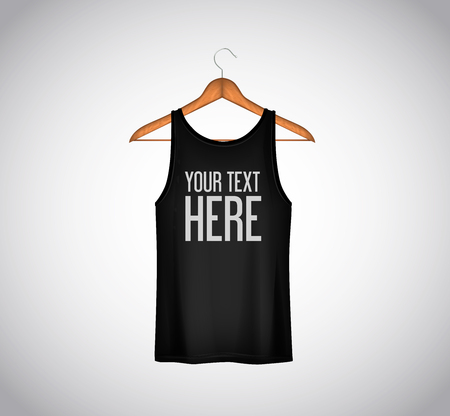 Men black tank top isolated. Realistic mockup whit brand text for advertising. T-shirt template on background.