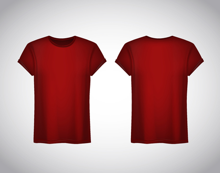 Men red T-shirt. Realistic mockup. Short sleeve T-shirt template on background.