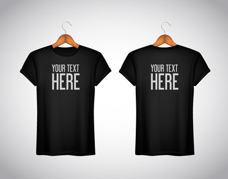Men black T-shirt. Realistic mockup whit brand text for advertising. Short sleeve T-shirt template on background.