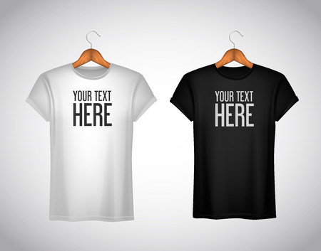 Men black and white T-shirt. Realistic mockup whit brand text for advertising. Short sleeve T-shirt template on background.