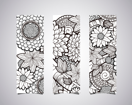Identity banners with vector black and white zendoodle tattoo floral background. Floral doodle black and white pattern.  イラスト・ベクター素材