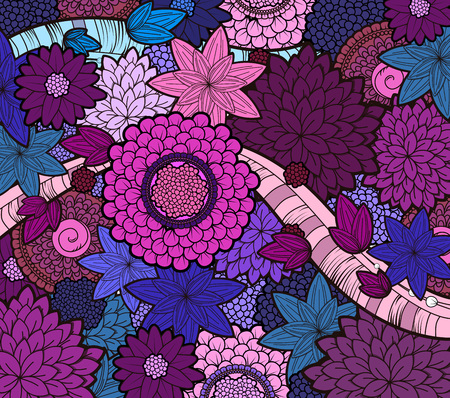 Vector black and white zendoodle tattoo floral background. Floral doodle black and white pattern.