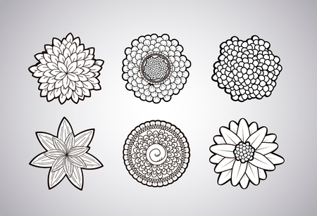 Vector black and white zendoodle tattoo floral lowers.  イラスト・ベクター素材