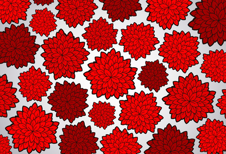 Vector tattoo red floral background. Floral doodle pattern.
