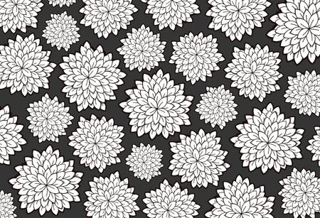 Vector tattoo black floral background. Floral doodle  pattern.