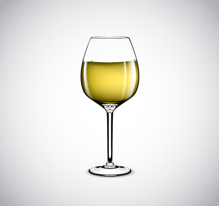 White wine full and empty in a glass isolated on white background.