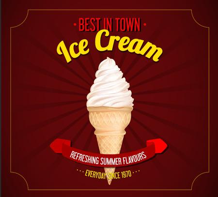 Vintage ice cream poster design. Retro design for marketing.