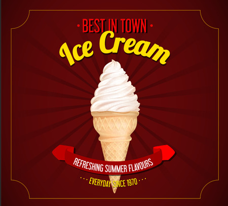 Vintage ice cream poster design. Retro design for marketing.