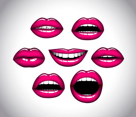 Womans lip close up set. Girl mouths gestures. Pink lipstick. Illustration