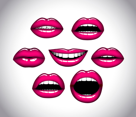 Womans lip close up set. Girl mouths gestures. Pink lipstick.  イラスト・ベクター素材