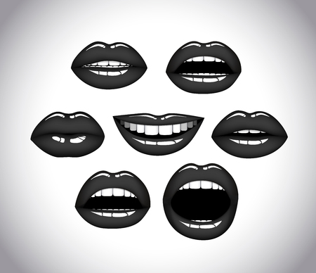 Womans lip close up set. Girl mouths gestures. Black lipstick.