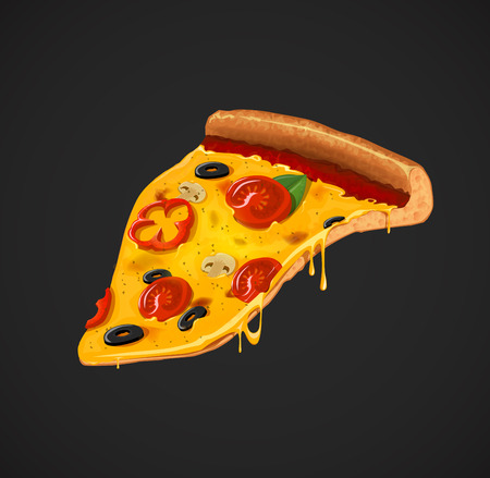 Slice of cheesy pizza . For advertising design or restaurant business. Icon Italian pizza. Illustration
