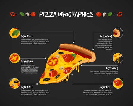 Pizza infographic. Vector slice of cheesy pizza poster ingredients. For advertising design or restaurant business.