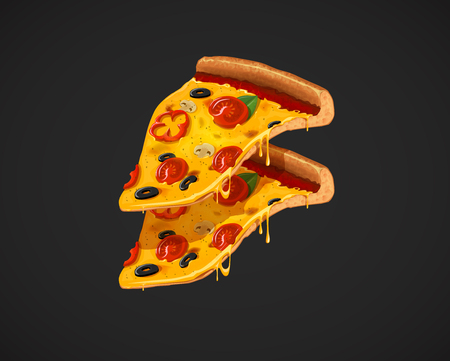 Two slices of cheesy pizza . For advertising design or restaurant business. Icon Italian pizzas.
