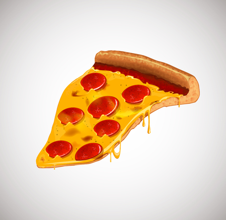 Slice of cheesy pepperoni pizza . For advertising design or restaurant business. Icon Italian pizza.