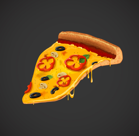 Slice of cheesy pepper pizza . For advertising design or restaurant business. Icon Italian pizza.