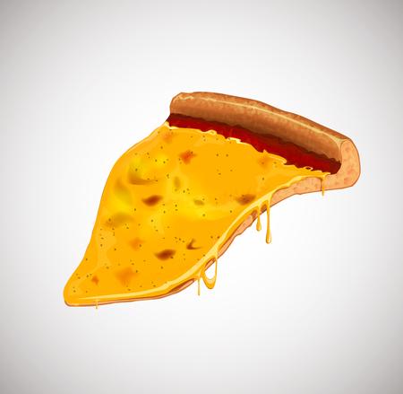Slice of margherita pizza . For advertising design or restaurant business. Icon Italian pizza. Illustration