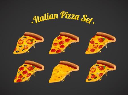 Italian pizza set, collection . For advertising design or restaurant business. Vector illustration of slices ofpizza Margherita, pepperoni, Mushroom.