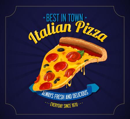 Italian Pizza retro poster background. for restaurant illustration advertising design or restaurant business.
