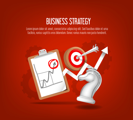 Business strategy concept.  Chess knight, target, arrow, growth arrow. Illustration