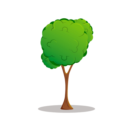 Cartoon style vector tree drawing isolated on white background.