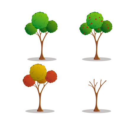 Cartoon style tree in four seasons - spring, summer, autumn, winter.
