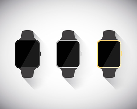 Smart watch concept set isolated on white background. Vector illustration.