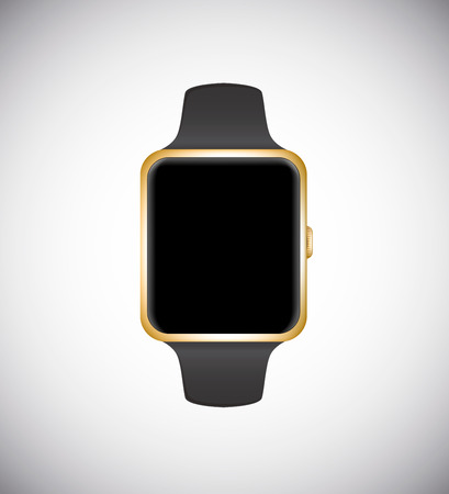 Smart watch concept isolated on white background. Gold edition.Vector illustration.