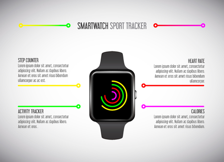 Smartwatch. Fitness tracker. Activity tracker. Vector promotion infographic.