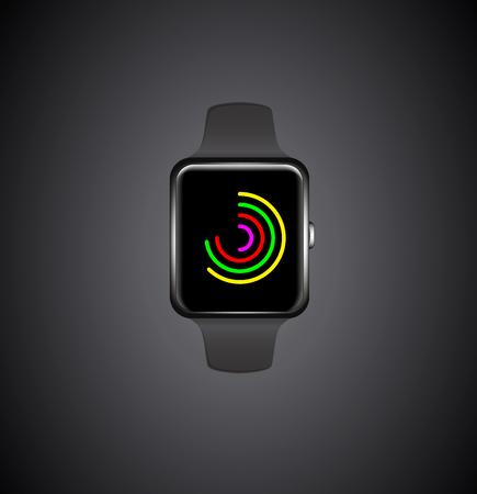Smartwatch. Fitness tracker. Activity tracker. Vector promotion Illustration