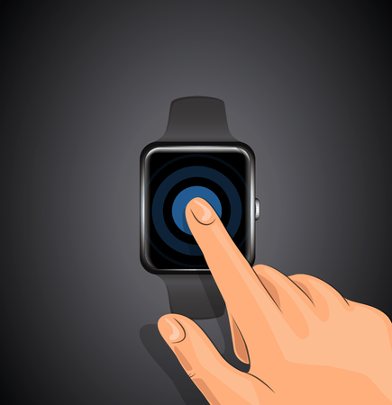Smart watch wearable. Touch finger hand. Illustration