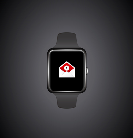New Mail received Notification on Smart watch Illustration