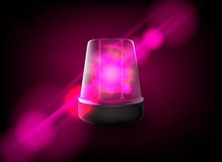 Pink emergency flashing lady siren. Vector Ilustrace