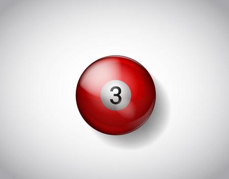 Three red ball pool. Vector illustration billiards isolated. 3 Ball for Snooker pool. Billiard Balls.