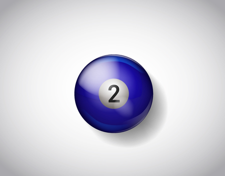 Two blue ball pool. Vector illustration billiards isolated. 2 Ball for Snooker pool. Billiard Balls.