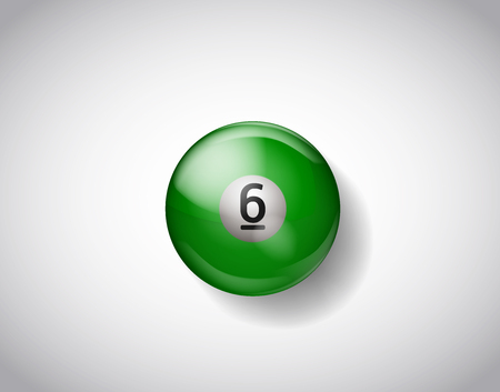 Six green yellow ball pool. Vector illustration billiards isolated. 6 Ball for Snooker pool. Billiard Balls.