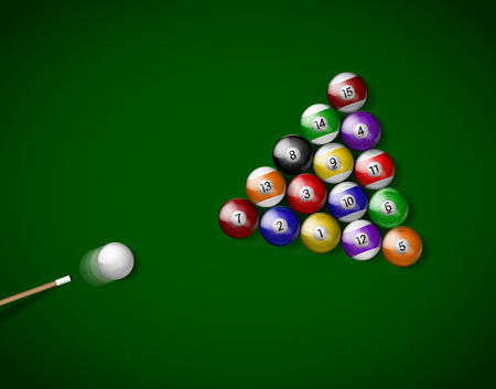 Billiard balls on green cloth, billiard green table. Vector illustration billiards isolated. Balls for Snooker pool. Billiard Balls.