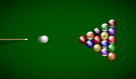 Billiard balls on green cloth, billiard green table. Vector illustration billiards isolated. Balls for Snooker pool. Billiard Balls.