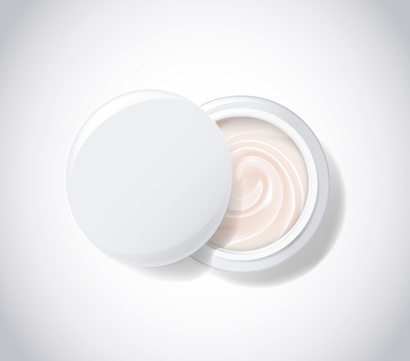 Package pot with white cream.  Cosmetic product for skin face care. Top view vector illustration.