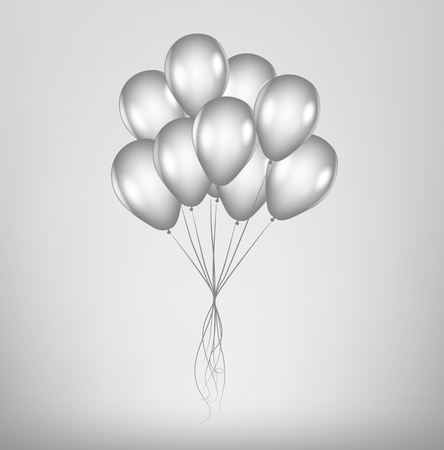 Realistic Gray Bunch of Birthday / Black Friday Sale Balloons Flying for Party and Celebrations isolated. Silver Helium Balloons.