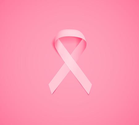 Nastro rosa realistico, simbolo di consapevolezza del cancro. Nastro rosa di consapevolezza del cancro al seno. Vettoriali