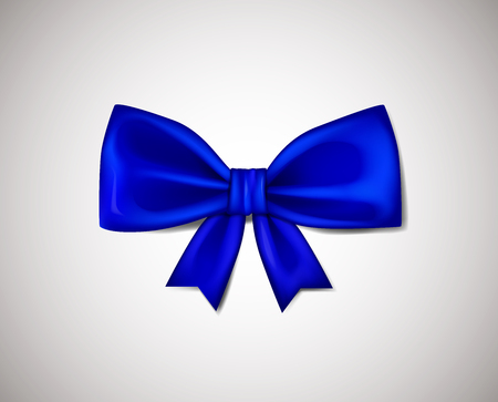 Realistic Blue ribbon bow isolated on white background. Vector illustration.