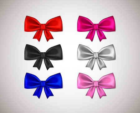 Realistic ribbon bows, red, pink, blue, silver,black - all colors collection isolated on white background.