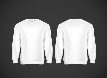 Men white hoody. Realistic mockup. Long sleeve hoody template on background. Archivio Fotografico - 125264679