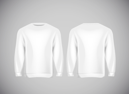 Men white hoody. Realistic mockup. Long sleeve hoody template on background. Archivio Fotografico - 125264682