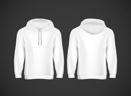 Men white hoody. Realistic mockup. Long sleeve hoody template on background.