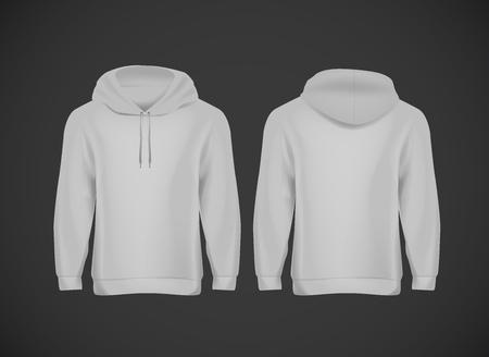Men gray hoody. Realistic mockup. Long sleeve hoody template on background. Illustration