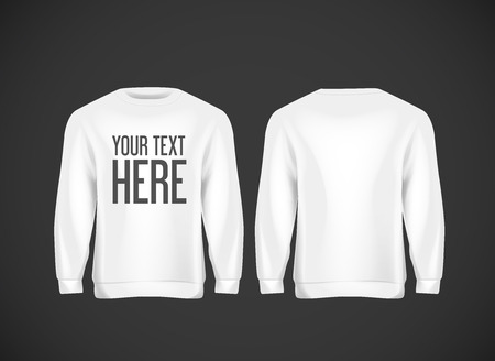 Men white hoddy. Realistic mockup with brand text for advertising. Long sleeve hoody template on background.